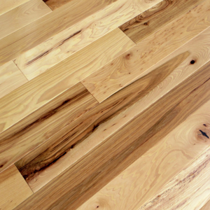 "Hickory has an amazingly large color variation & unusual graining. The color ranges from creamy whites to medium browns with the occasional dark brown mixed in. This is another one that is more popular in the 5"" plank to prevent the floor from looking too busy."